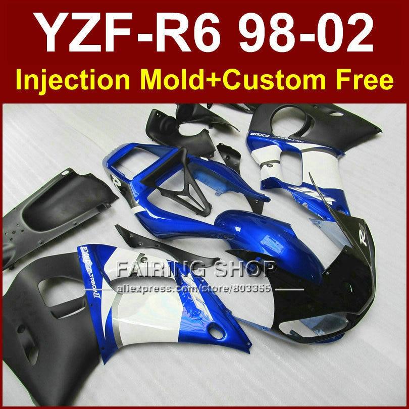 G7RV Low price fairing parts for YAMAHA fairing kit YZF R6 98-02 blue custom fairing YZF R6 1998 1999 2000 2001 2002 R67V