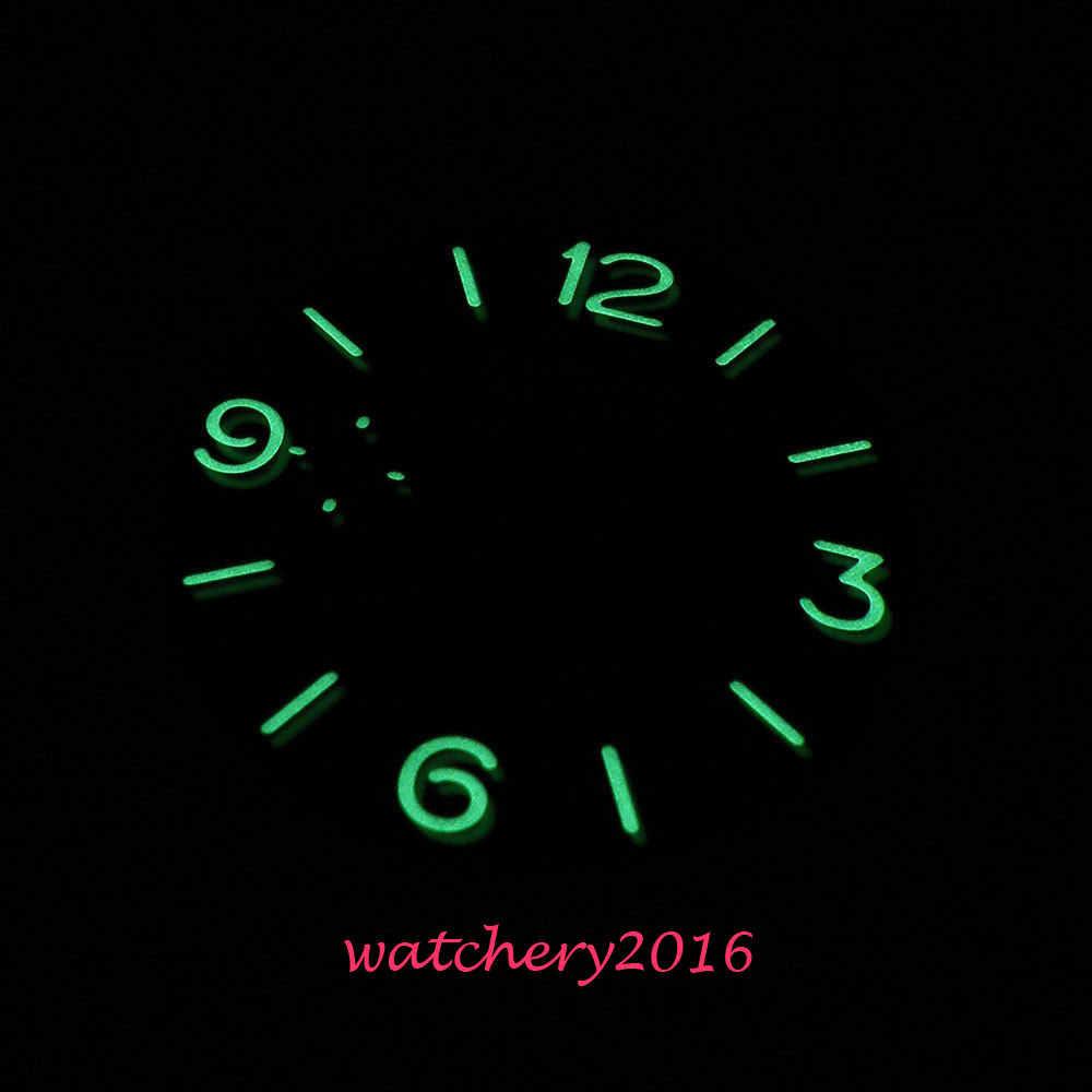 Nuevo 34,5mm Parnis negro estéril esfera luminosa ajuste 6497 Movimiento de los hombres dial de reloj