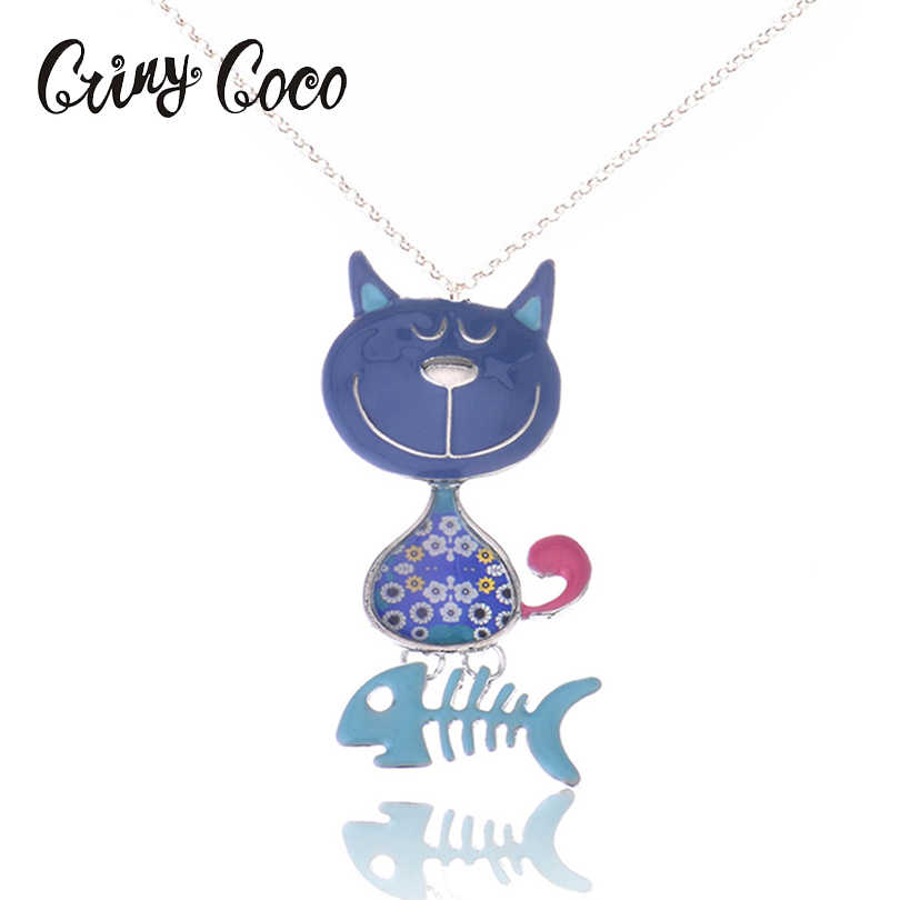 Alloy Enamel Necklace Link Chain Cute Cat Fish Bones Pendant Collar Decoration For Women Gifts New Style Enamel Fashion Jewelry