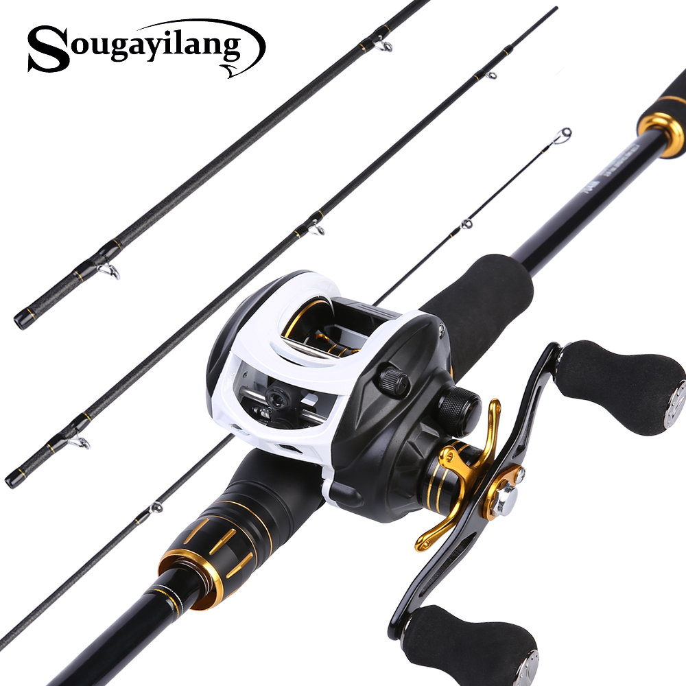 Sougayilang 2 12m Fishing Lure Rod and 10BB Baitcasting Fishing Reel Combo Carbon Pole and 7