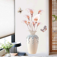 Butterfly Flower Vase Wall Stickers Decals 3D Flower Mural Vinyl Wallpaper Home Living Room Bedroom Decorations 18101210