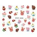 Jiji Emoji de Uñas de Moda 1 unidades Delicioso Pastel de Alimentos Etiqueta Engomada Del Clavo DIY Diseños de Transferencia de Agua Calcomanías de Uñas de Arte STZ444