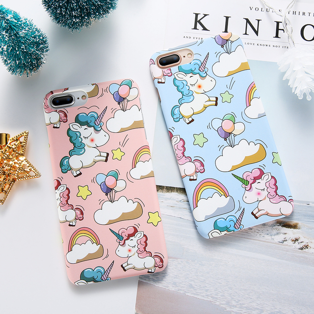 Cute Cartoon Unicorn Phone Case For iPhone X 5s 6 7 8 Plus Case Smooth Touch Hard PC Cover