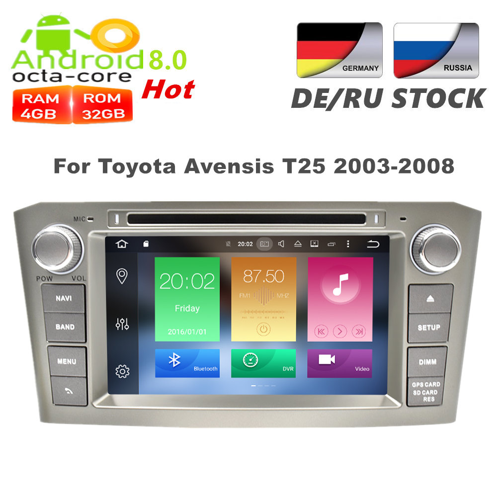 Android 8.0 Car DVD player GPS Navigation Multimedia Stereo For Toyota Avensis T25 2003-2008 Auto Radio Audio Headunit
