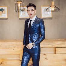 Luxury Baroque Suit Gold Blue Tuxedo Jacket+vest+pant Smoking Homme Costume Mariage Homme Party Wedding Stage Clothing 3XL