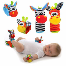 Cartoon Baby Toys 0-12 Months Soft Animal Baby Rattles Children Infant Newborn Plush Sock Baby Toy Wrist Strap Baby Foot Socks(China)