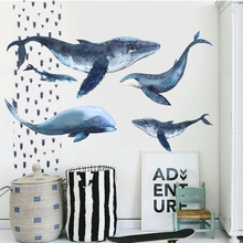 Fish Ocean Dolphin Watercolor Animal Wall Stickers Kids Room Watercolor Print Stickers Modern Nordic Home Decor Accessories DIY