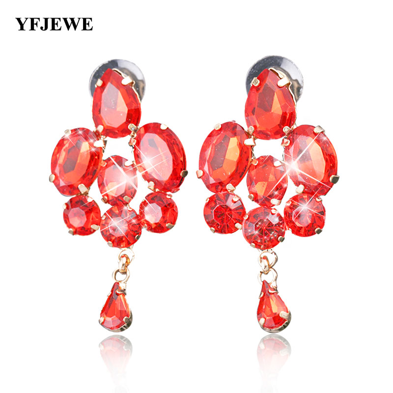 YFJEWE Fashion Jewelry Blue Crystal Artificial Gem Patchwork Flower Ladies Sexy Big Gold Color Drop Earrings For Women #E025