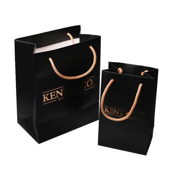 bd87fae6e Atacado 1000 pçs/lote sacos com ouro impresso logotipo personalizado  boutique de luxo sacos de
