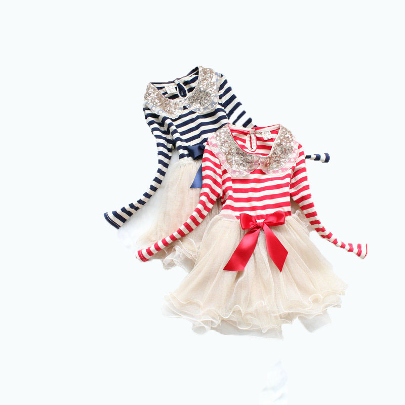 Sequins Callor Princess Girl Dresses Red Striped Gauze Cake Tutu Dress Long Sleeve Layer Tulle Fashion Kids Clothing 2- 5T Baby new the spring of 2018 women s clothing sequins lapel eagle decals gauze falbala vest dress