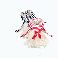 Sequins Callor Princess Girl Dresses Red Striped Gauze Cake Tutu Dress Long Sleeve Layer Tulle Fashion Kids Clothing 2- 5T Baby