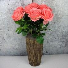 2019 New 1pcs Artificial Flowers Home Decoration Fake Plastic Christmas Garlands DIY Gifts Scrapbooking Silk Tea Roses