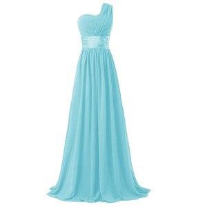 Image 4 - LLY6818BL#Chiffon Dark Blue Red Bridesmaid Dresses One shoulder Long Bride Wedding Party Toast Dress Girls Custom Free Wholesale