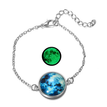 DIEZI Glow In The Dark Glass Cabochon Gray Moon Luminous Jewelry Silver Chain Link Bracelets 1