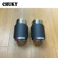 CHUKY Modified For VW Tiguan 2017 Accessories For Volkswagen Tiguan 2016 Carbon Akrapovic Car Exhaust Tips Muffler Pipes Covers