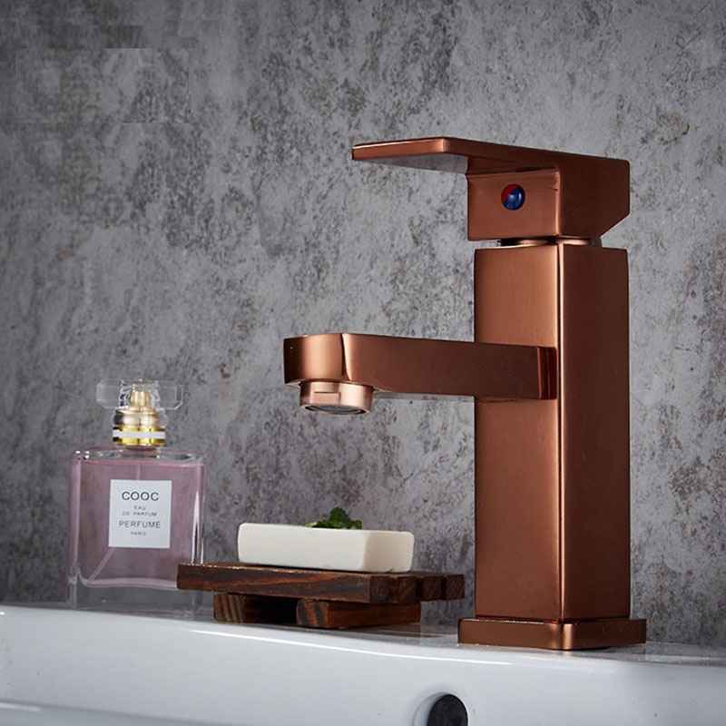 Gold Bathroom Faucets Square Waterfall Faucet Hot and Cold Device Faucet Polished Golden Bathroom Basin Sink