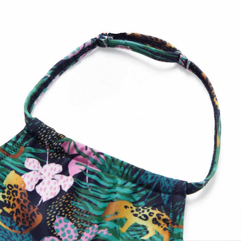 Traje de baño a juego Floral cuello en V madre e hija traje de baño mamá y yo familia moda padre e hijo nadar corto QZ1908