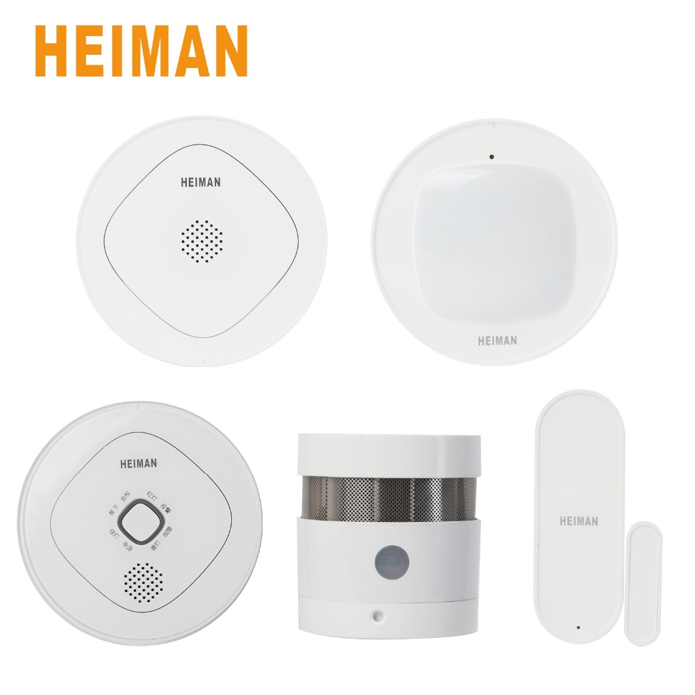 HEIMAN Smart Wireless Gateway ZigBee Door Window Sensor Motion Infrared Detector Smoke Detector and Combustible Security