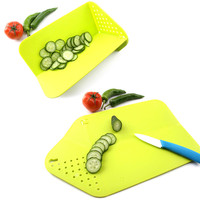 Cutting Board Plus Colander 2 In 1 Chopping Board With Integrated Strainer Hitchen Tool Christmas Gifts