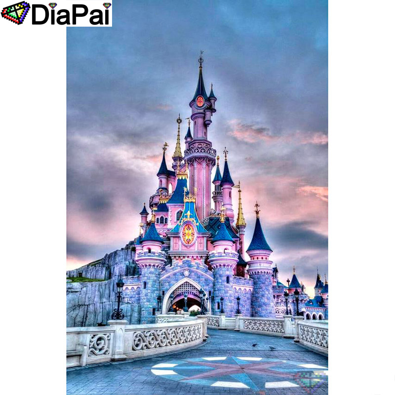 DIAPAI Diamond Painting 5D DIY 100 Full Square Round Drill quot Castle scenery quot Diamond Embroidery Cross Stitch 3D Decor A24442 in Diamond Painting Cross Stitch from Home amp Garden