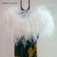 Luxury Ivory Ostrich Feather Coats Wedding Fur Boleros 2018 Formal Bridal Shawls for evening dresses Ups Wedding Accessories