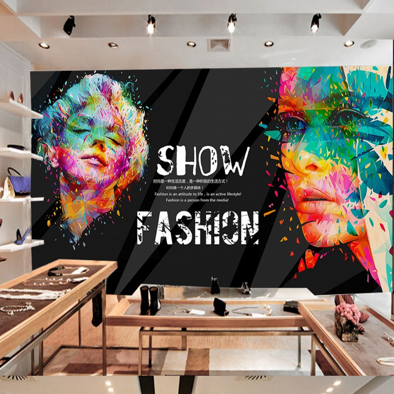 Free Shipping Fashion Painting Woman Shopping Mall Clothing Shop Backdrop KTV Bar Mural Custom Wallpaper