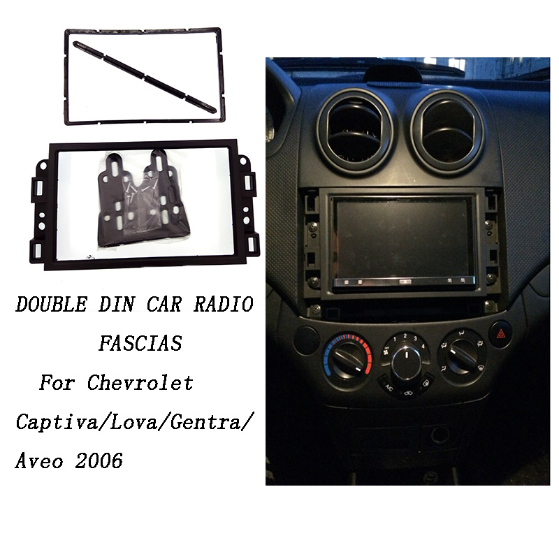 Doppel 2 Din Auto DVD Rahmen, Audio Ölschlauchanschluss-adapter, Holzdekorblenden-kits, Fascia Für Chevrolet Captiva/Lova/Gentra/AVEO