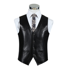 Black Formal Vest Men Sheepskin Autumn Winter Luxury New Stylish Design Genuine Leather Motorcycle Vests Brown Waistcoat цена 2017