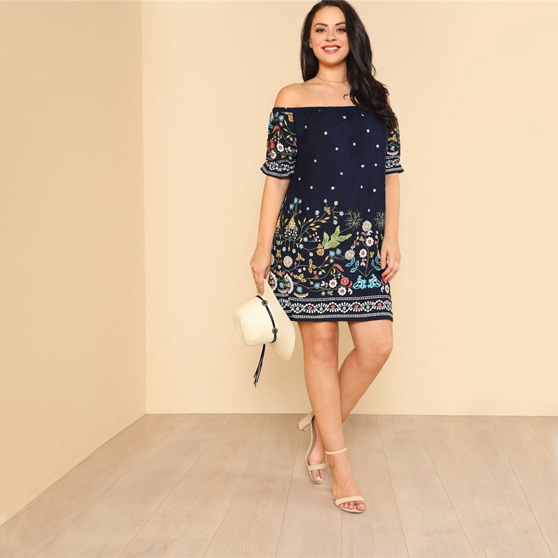 Details about SHEIN Navy Plus Size Botanical Print Off Shoulder Cotton  Dress Women 2019