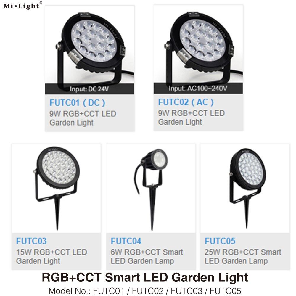 Milght FUTC01 FUTC02 FUTC03 FUTC04 FUTC05 IP65 Waterproof 6W 9W 15W 25W RGB+CCT Lawn Garden Light AC110V 220V 2.4G Remote WiFi