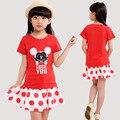 2016 Meninas Do Bebê Roupas de Verão Set Crianças Minnie T-shirt Curto + curto Dot Saia Conjunto Terno Conjunto de Roupas Meninas Conjunto De Menina 6-15Y