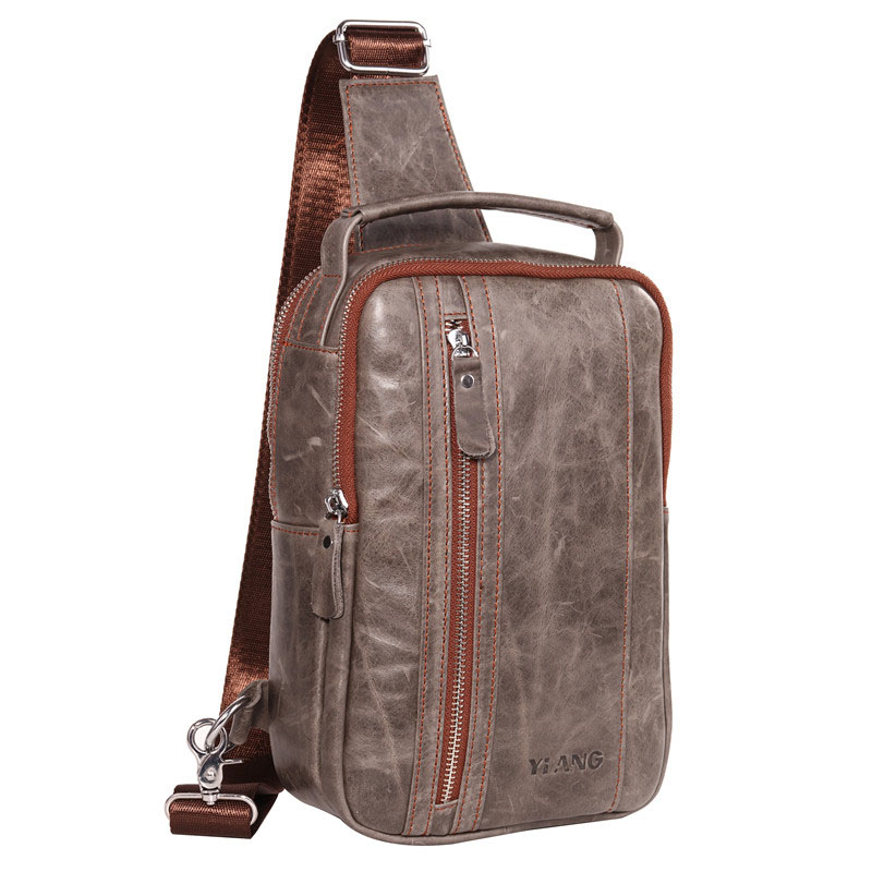 High Quality Men Genuine Leather Cowhide Vintage Sling Chest Back Day Pack Handbag Travel Cross Body Messenger Shoulder Bag teemzone men s genuine leather shoulder messenger cross body satchel day fanny zipper waist pack handbag bag wallet s4001