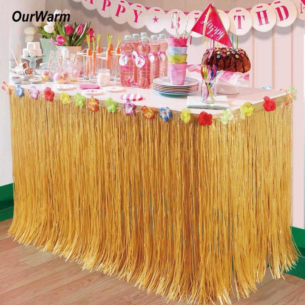 OurWarm 5pcs Hawaiian Party Decorations Artificial Grass Table Skirt with Hibiscus Tropical Summer Luau Party Table