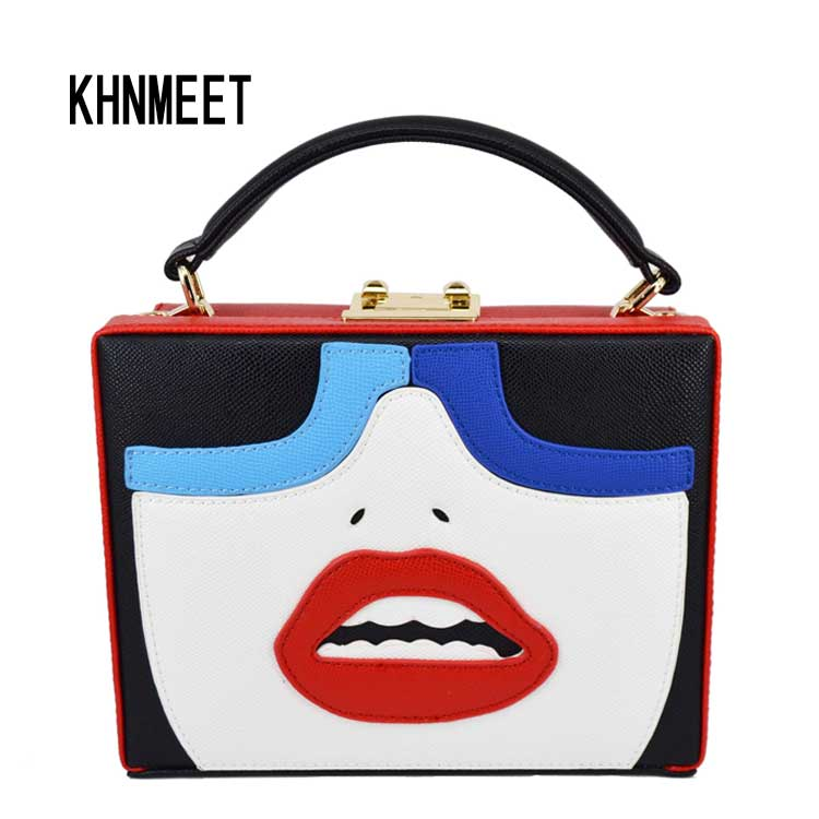 Fashion Lovely Face Women Handbags Red lips Pu Clutch Evening Bag Pu trunk Lock Box Mini Tote Purse Wedding Party Clutch Bag fashion box evening bag oil painting flower black lock clutch bag strap mini tote bag ladies purse trunk white women handbags