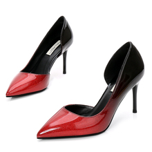 Plus Size Women 8CM Pointed Toe Patent Leather Pumps Woman Stiletto Thin High Heels Sexy Ladies Nightclub Party Shoes E0015 недорого