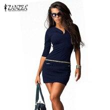 ZANZEA 2017 Sexy Women Dress Summer Half Sleeve V neck Package Hip Vestidos Bodycon Bandage Casual