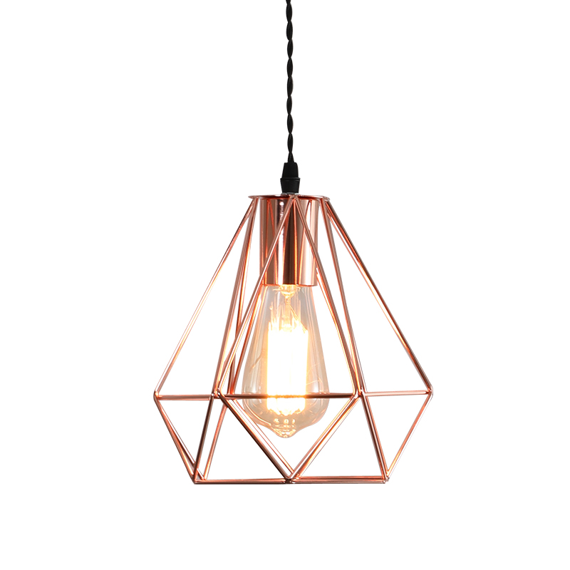 Modern E27 metal cage pendant lamp vintage color rose gold birdcage creative hanging lamp for restaurant living roomModern E27 metal cage pendant lamp vintage color rose gold birdcage creative hanging lamp for restaurant living room