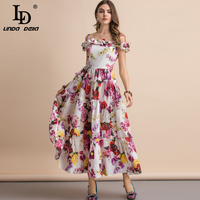 LD LINDA DELLA New 2019 Summer Spaghetti Strap Dress Women's Slash neck Ruffles Floral Print Pure Cotton Ruched Long Dresses
