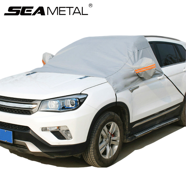 Car Windscreen Cover Half Size Windshield Front Window Shade Sun Shield Cushion Winter Snow Ice Frost Protector Auto Accessories