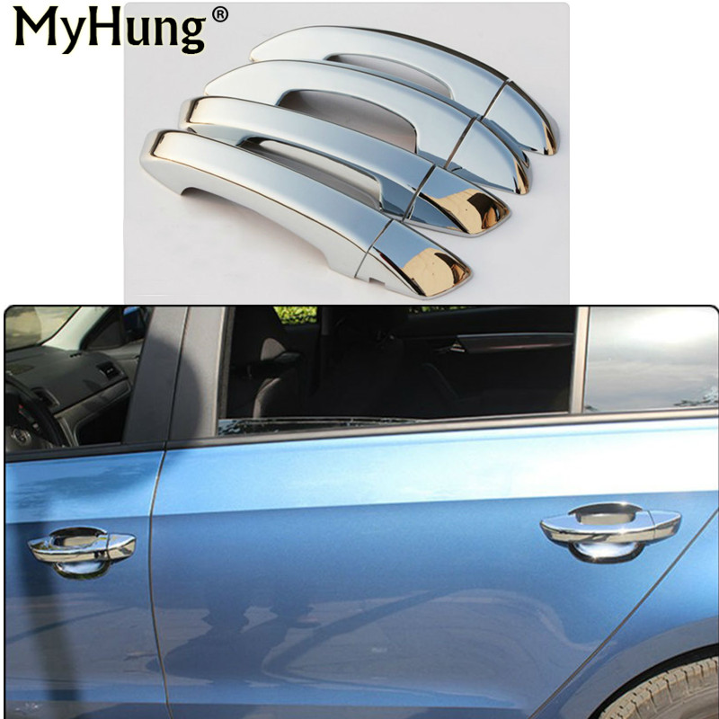 Car-Styling Car Auto Accessories Door Handle Cover Trim Protector Cover For Vw Golf 6 2009 2010 2011 2012 Abs Chrome 8Pcs nitro triple chrome plated abs mirror 4 door handle cover combo
