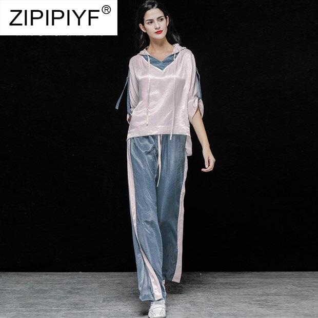 Kadın Giyim'ten Kadın Setleri'de 2019 Bahar Moda Iki Adet Setleri Bayan Uzun Kollu Katı Bluz Yüksek Bel Geniş Bacak Pantolon Kadın Zarif İki Adet takım elbise K696'da  Grup 1