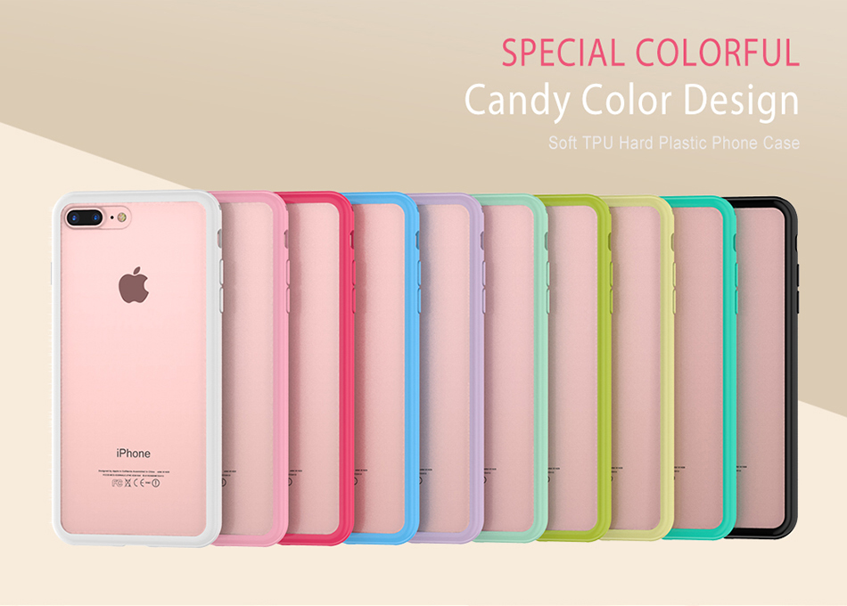 MR.YI Candy Color Frame Phone Case For iPhone 7 For iPhone 7 Plus Colorful Matte Clear Transparent Cover Case For iPhone 7 Plus (1)