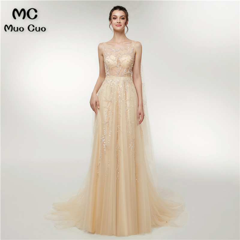2018 Illusion A-Line   Prom     dresses   Long with Crystals Beads Vestidos de fiesta   dress   for graduation Tulle Evening   Dress   for Women