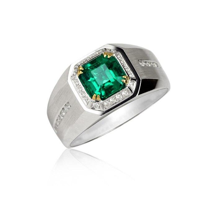 2017 Promotion fête limitée Qi Xuan_Trendy joaille_rectangulaire CZ vert homme Rings_S925 argent ring_fabricant directement ventes