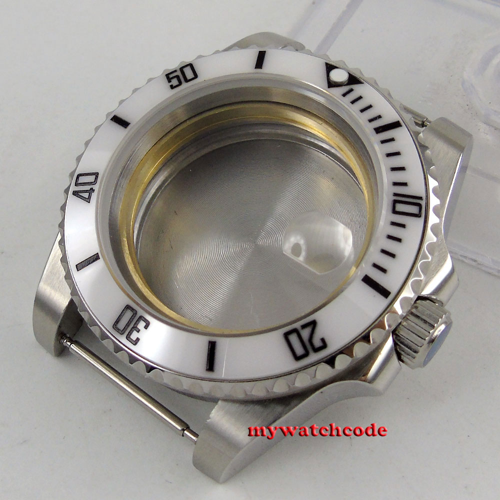 43mm sapphire glass ceramic white bezel Watch Case fit ETA 2824 2836 MOVEMENT цена и фото