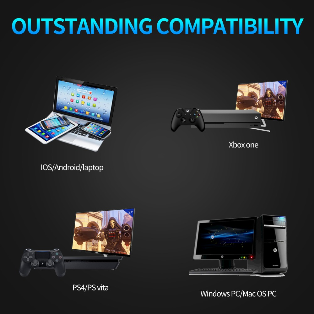 A60 PS4 Headset casque PC Stereo Bass Gaming Headphones Game Earphones with  Microphone RGB LED Lights for New Xbox One