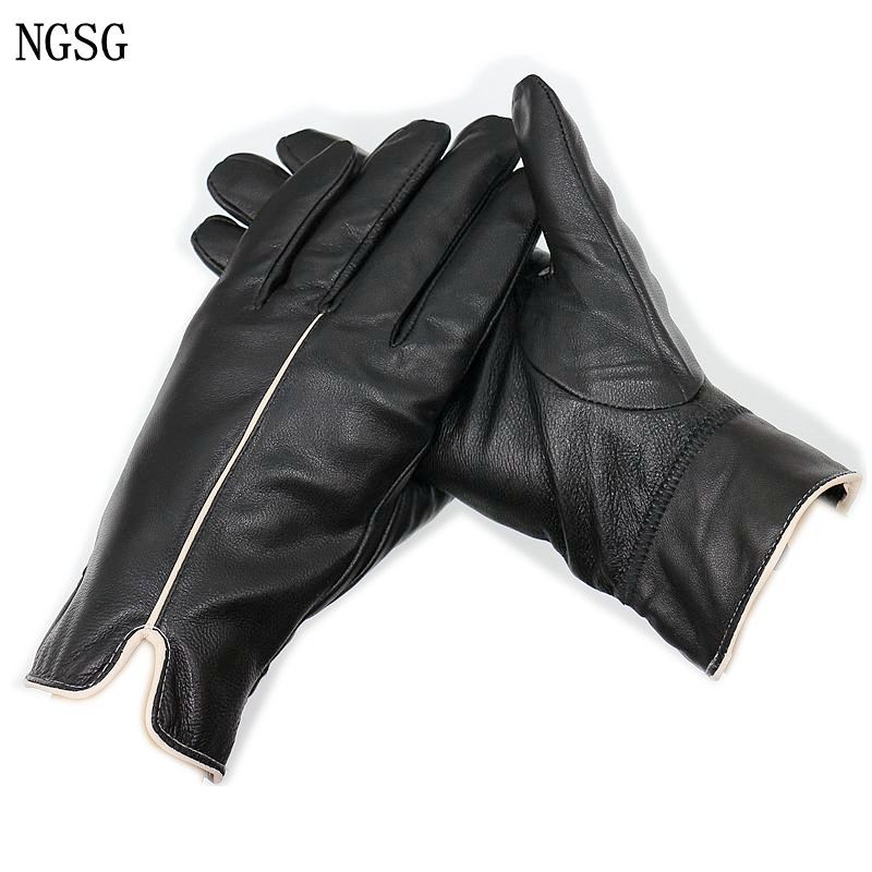 NGSG Women's Genuine Leather Touch Screen Gloves Spring Autumn Female Simple Black Real Sheepskin Plush Winter Warm Gloves