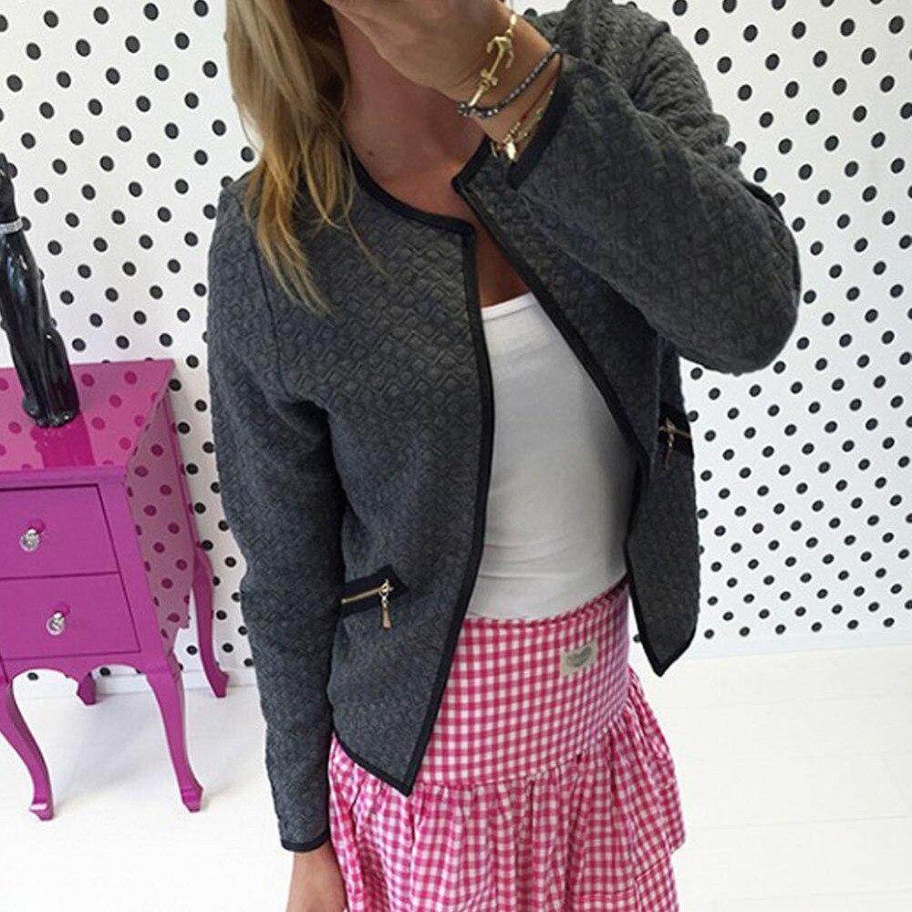 Fashion New Women Short Coat Jacket Long Sleeve Casual font b Tartan b font Cardigan White