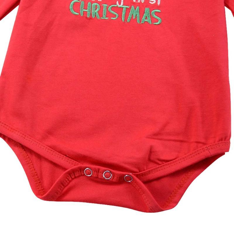 2pcs/set Christmas Newborn Clothing Deer Embroidery Long Sleeve Romper + Bowknot Skirt Autumn Cotton Baby Girl Clothes Set