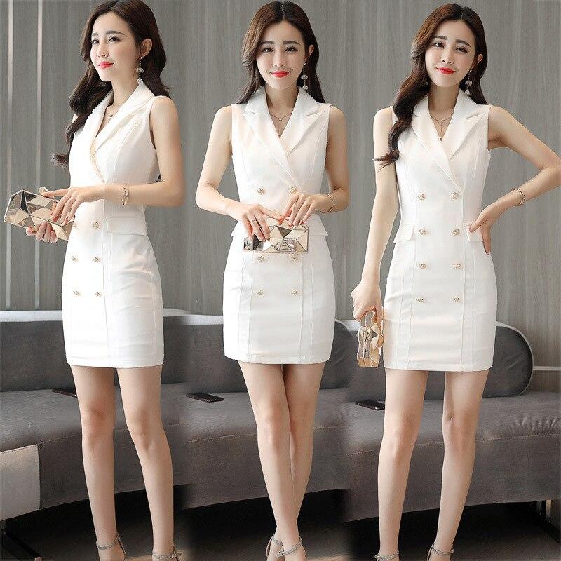 Travail Réservoir Robes white Yuxinfeng Sans Blanc Breasted Entaillé Lady Robe Double Bureau Blazer Manches Slim Poches Femmes Noir Black wBqvwaFnzU